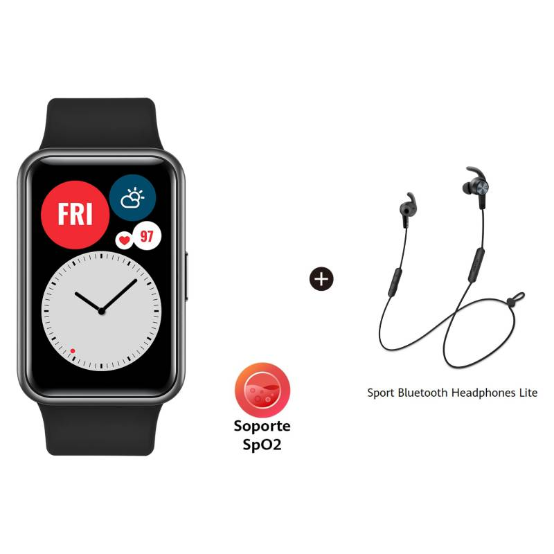 Huawei - Huawei Watch Fit Black + Audifonos Bluetooth Am61