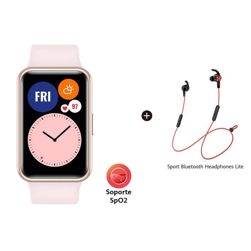 Huawei - Huawei Watch Fit Pink + Audifonos Bluetooth Am61