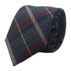 BASEMENT - Corbata Gris Escoces Burdeo 7 Cm