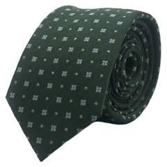 BASEMENT - Corbata Seda Verde Cuadro Celeste 6 Cm