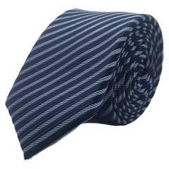 BASEMENT - Corbata Seda Celeste Raya Azul 6 Cm