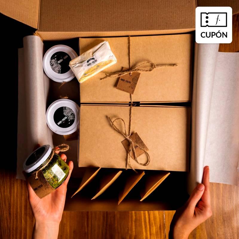 AMOR Y PASTA - Cupón para Caja de pastas y salsas frescas para 4-6 personas, incluye delantal de regalo