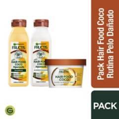 Garnier Skin Natural Face - Set para Pelo dañado Hair Food Coco Shampoo 300 ml + Acondicionador 300 ml + Crema de Tratamiento de 350 ml