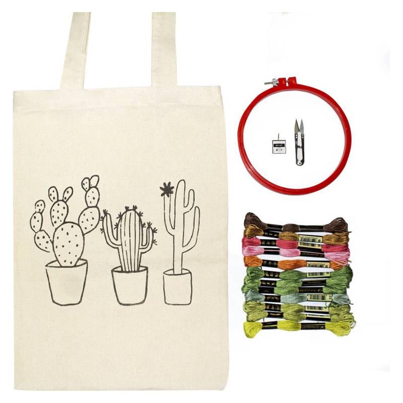 MY KIT - Kit De Bordado Bolso Cactus