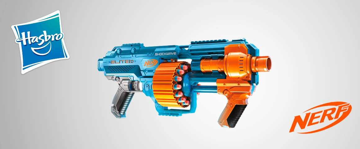 Lanzador Nerf Elite 2.0 Shockwave RD-15 - 30 dardos Nerf, tambor giratorio de 15 dardos, modo ráfaga - personalización
