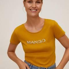 Mango - Polera Algodón Mangologo Bordado Mujer