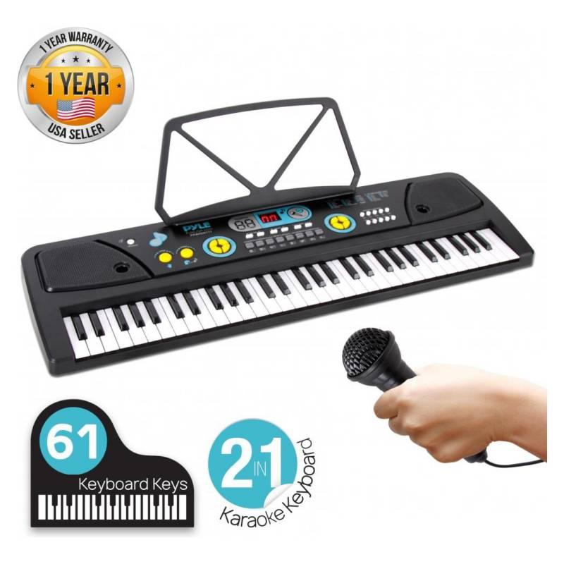 Pyle - Teclado Y Micrófono De Piano De 61 Teclas