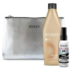 REDKEN - Set Hidratación All Soft Shampoo 300 ml + One United 30 ml y Estuche de regalo
