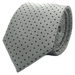 BASEMENT - Corbata Seda Gris Plata Punto Negro 7Cm