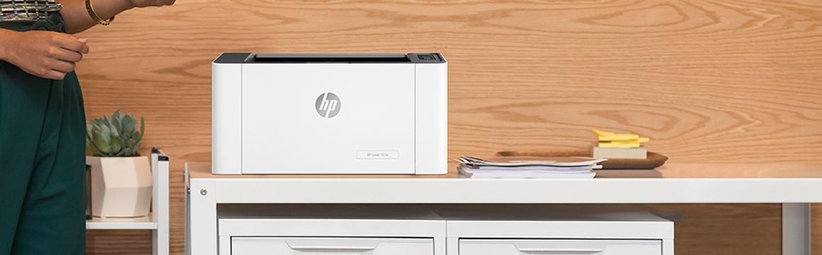 Impresora HP Laser 107a tamaño reducido y compacto