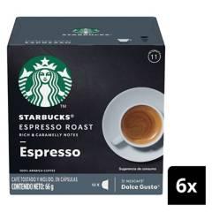 NESCAFE DOLCE GUSTO - Café Starbucks Espresso Roast Cápsulas X6 Caja