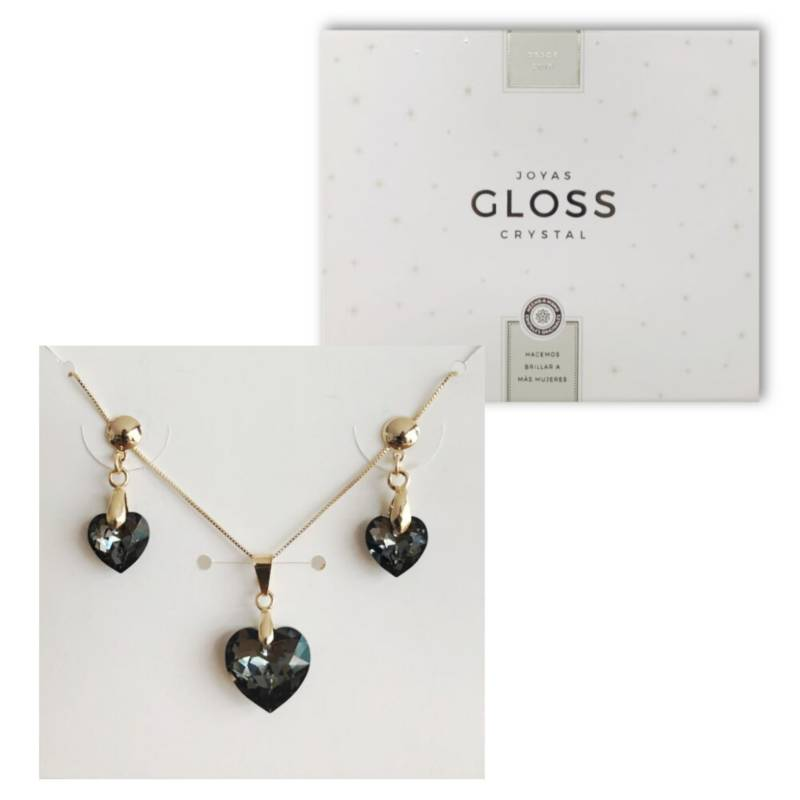GLOSS CRYSTAL - Joyero  Conjunto Diamante Silver Night Oro