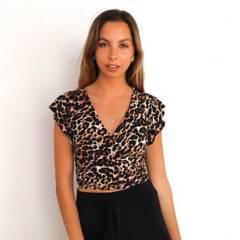 MISS BOHO - Top Amelia Vuelos Leopardo