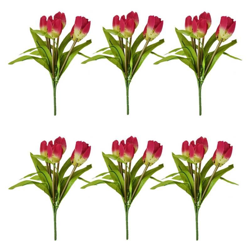 SOHOGAR - Pack 6 ramos tulipan 25 cm c/u