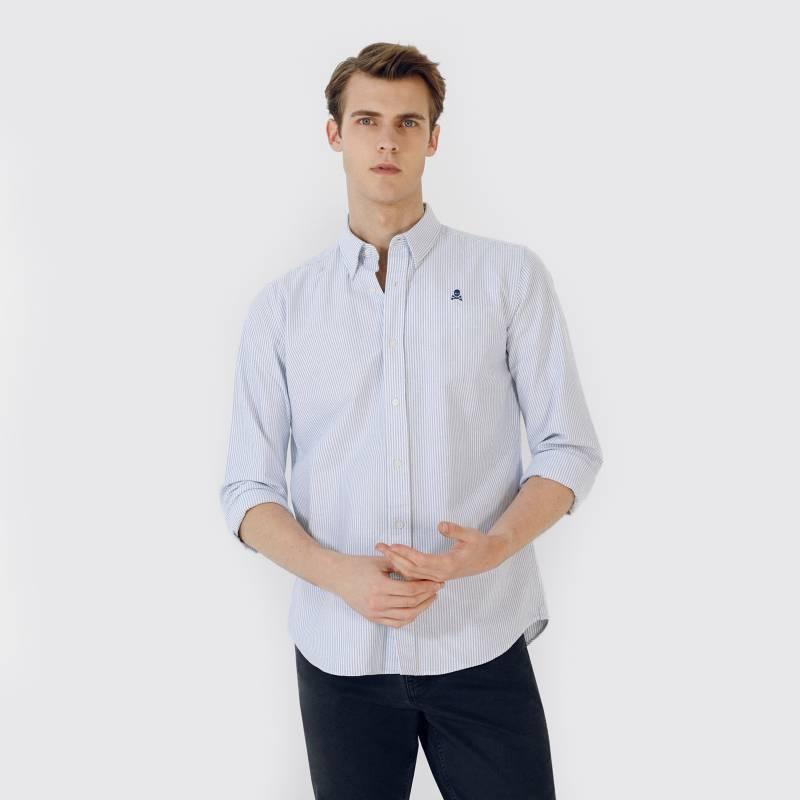 Scalpers - Camisa Oxford Calavera Contraste
