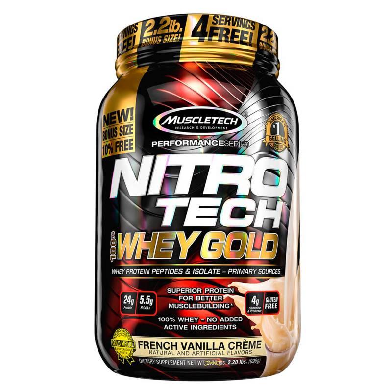 MUSCLETECH - Proteína Nitro tech 100% Whey Gold 22lb -VAINILLA