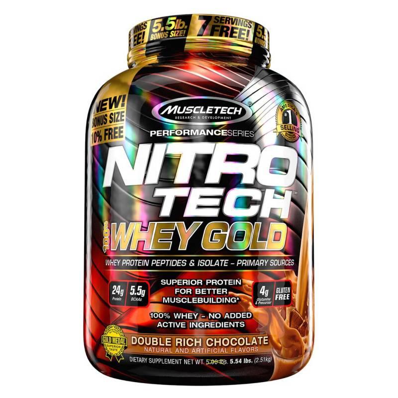 MUSCLETECH - Proteína Nitro tech 100% Whey Gold 55lb-CHOCOLATE