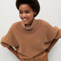 MANGO - Sweater Canalé Cuello Alto Caravan Mujer