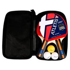 ATLETIS - Set 2 Paletas 3 Pelotas Pingpong Profesional Negro