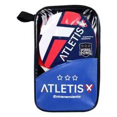 ATLETIS - Set 2 Paletas Y 3 Pelotas Ping Pong Training Negro
