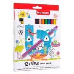 Bruynzeel - Lápices Triangulares 12 Colores Sacapuntas