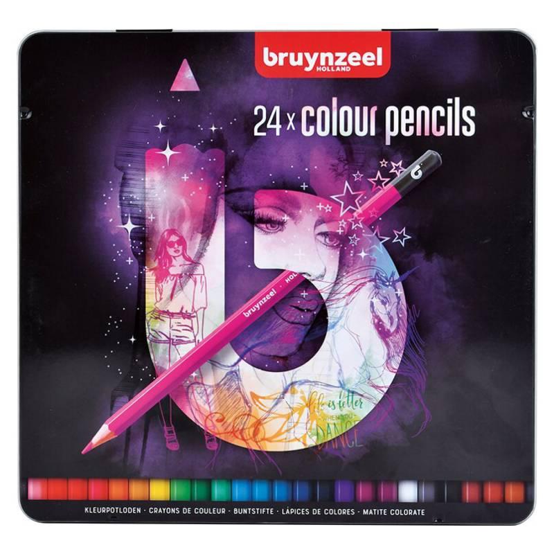 BRUYNZEEL - Lápices Hexagonales 24 Colores En Caja Metálica Bt