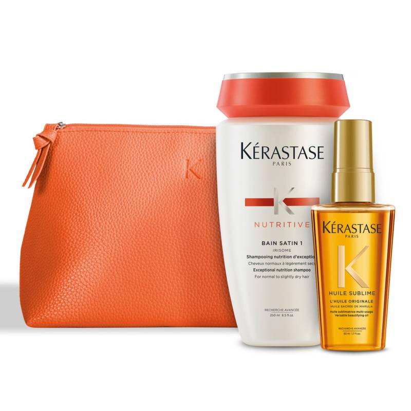 KERASTASE - Set Hidratación Cabello Fino Bain Satin 1 250 ml Nutritive + Aceite L'Huile Originale 50 ml Elixir Ultime