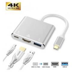 Generico - Conector Tipo C Hdmi 4K Usb 3 En 1  Macbook Series