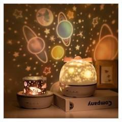 Generico - Lámpara Velador Proyector 6 Motivos Giratorio
