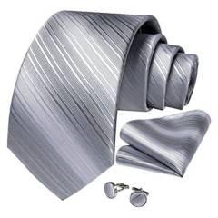 SONEC FASHION - Set Corbata Hombre Paño Colleras. Silver