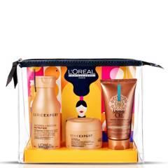 LOREAL PROFESSIONNEL - Set Cosmetiquero Nutrición Extrema Nutrifier Shampoo 100 ml + Máscara 75 ml + Crema Mythic Oil 50 ml