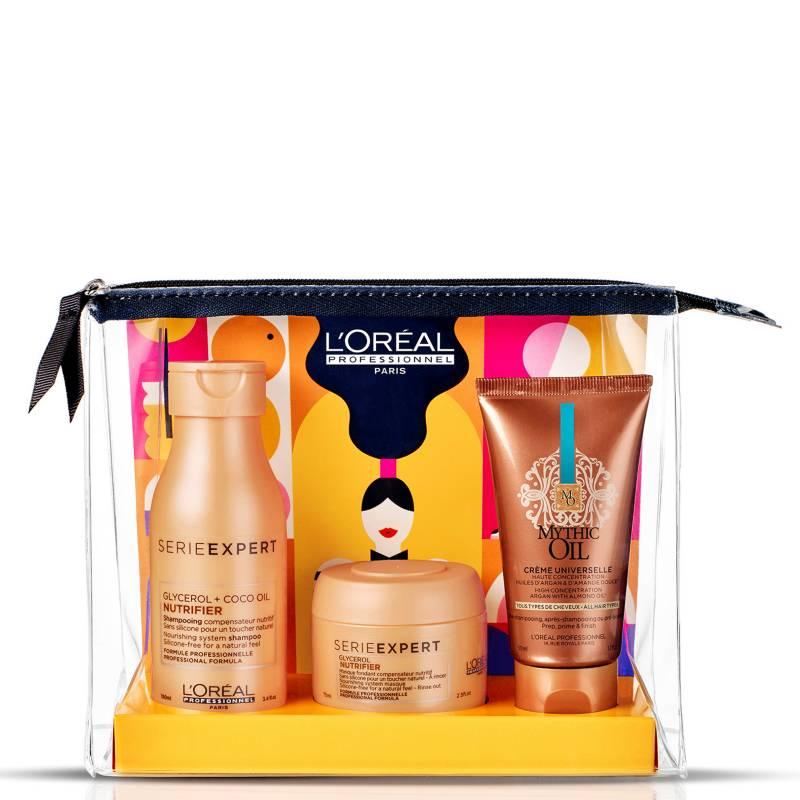LOREAL - Set Cosmetiquero Nutrición Extrema Nutrifier Shampoo 100 ml + Máscara 75 ml + Crema Mythic Oil 50 ml