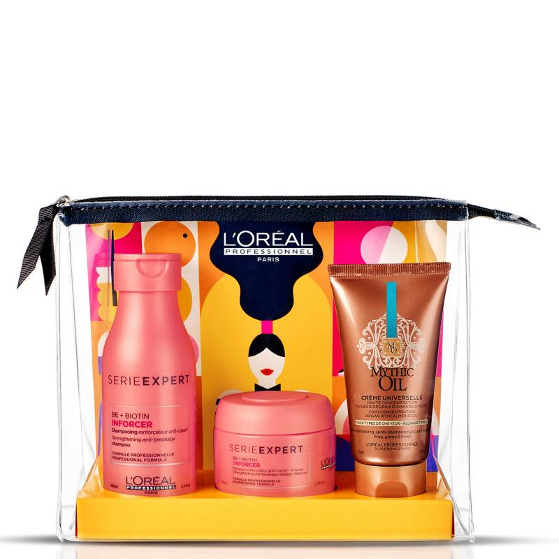 LOREAL PROFESSIONNEL - Set Cosmetiquero No + Quiebre Inforcer Shampoo 100 ml + Máscara 75 ml + Crema Mythic Oil 50 ml