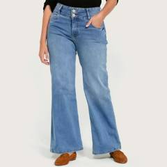 ELLE - Jeans Wide Leg Tiro Alto Mujer