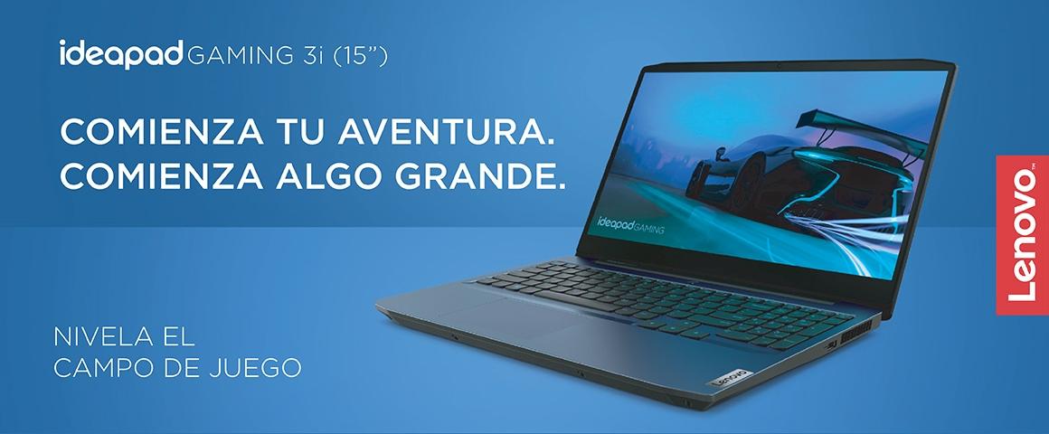 Header Ideapad Gaming 3i en fondo azul con logo lenovo