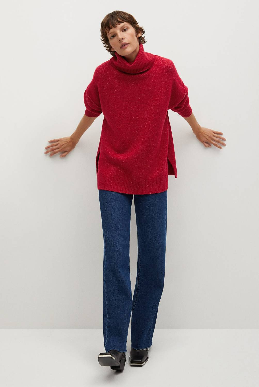MANGO - Sweater Oversize Cuello Alto Picasso Mujer