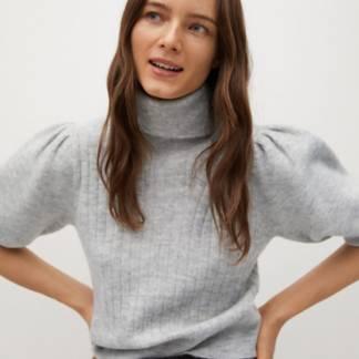 MANGO - Sweater Crop Cuello Alto Hera Mujer