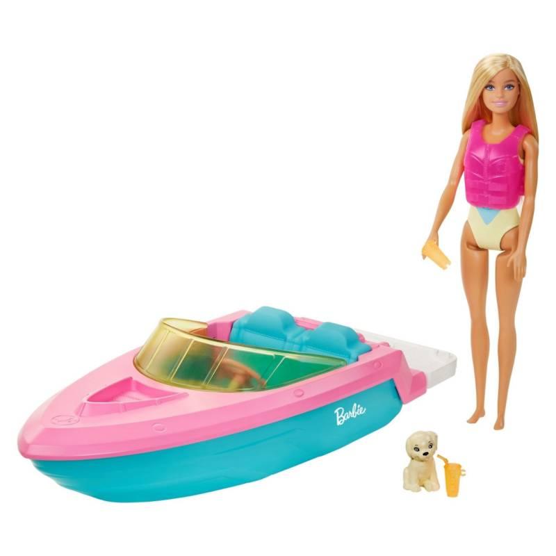 BARBIE - Muñeca Barbie Lancha Con Muñeca