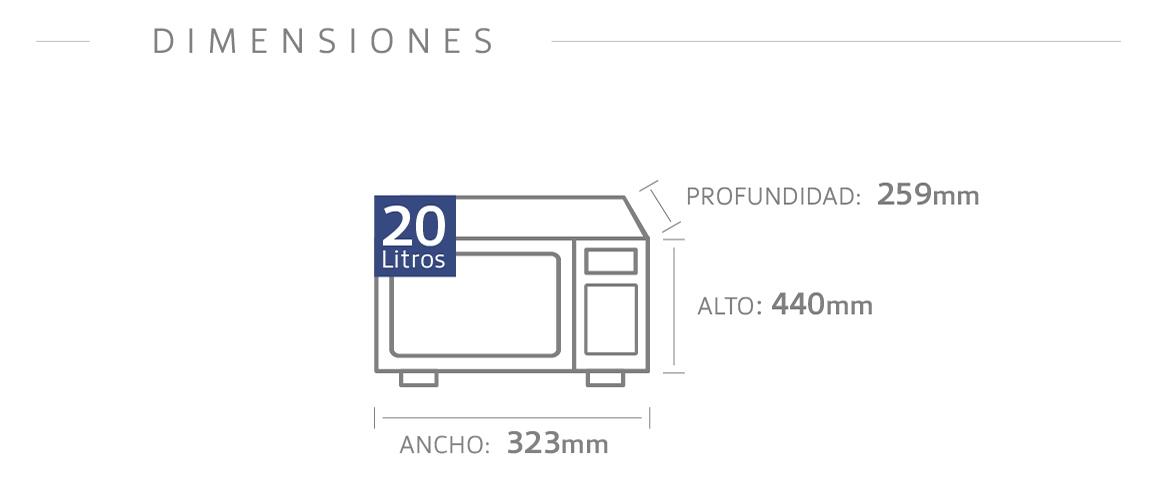 Dimensiones de un Microondas BGH.