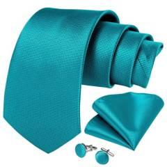 SONEC FASHION - Set Corbata Hombre Paño Colleras. Turquesa Classic