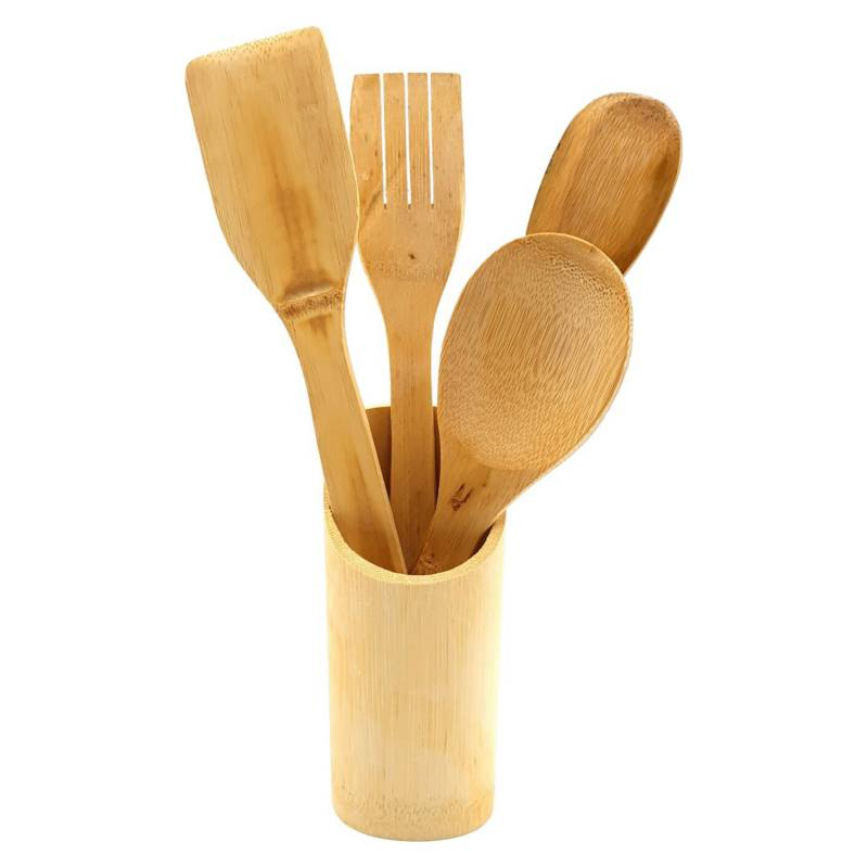 GENERICA - Utensilios Cocina Madera Bambu Set 5 Pza