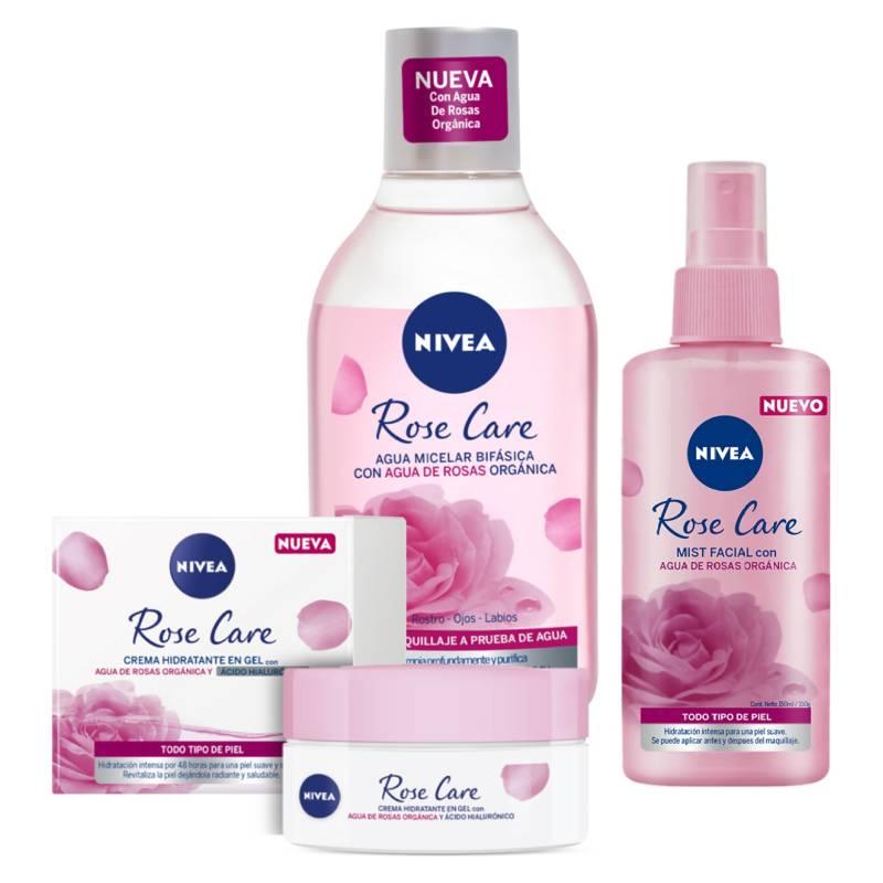 NIVEA - Pack Rutina Rose Care Agua Micelar Bifásica 400 ml + Crema Hidratante en Gel 50 ml + Mist Refrescante 150 ml
