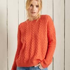 SUPERDRY - Sweater de Punto Trenzado con Cuello Redondo Mujer