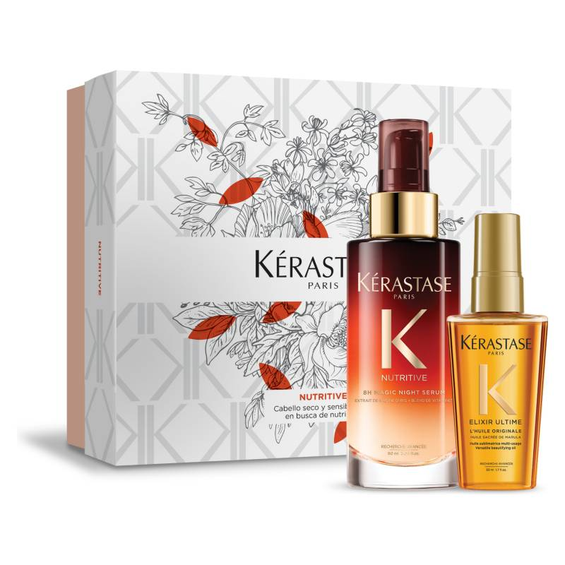 KERASTASE - Set Hidratación Serum Nocturno 90 ml Nutritive + Aceite L'Huile Originale 50ml Elixir Ultime