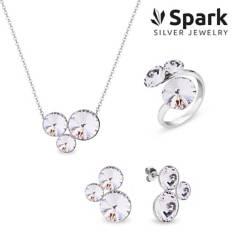 SPARK - Set Sweetie Aros + Collar + Anillo Cristal