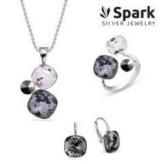 SPARK - Set Paraíso Aros + Collar + Anillo Cristal