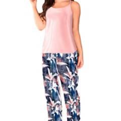 Mía Lencería - Pijama Orquídea Azul Pantalón Largo