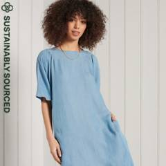 SUPERDRY - Vestido de Tencel Estilo Camiseta Mujer