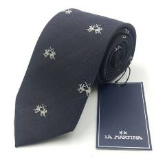 LA MARTINA - Corbata Seda Azul Marino Caballo 8 Cm Con Caja