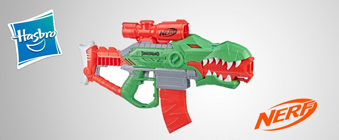 Nerf DinoSquad - Lanzadardos motorizado Rex-Rampage con clip de 10 dardos, 20 dardos Nerf oficiales, portadardos para 10, diseño de tiranosaurio